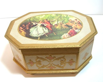 Florentine Painted Musical Jewelry Box