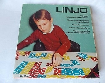 Vintage Linjo Puzzle Game Ravensburger Spiele Abstract Squiggles Lines Colorful Cards