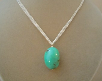 Turquoise Pendant on Multi-Layered Silver Chain -- Perfect Pendant Collection