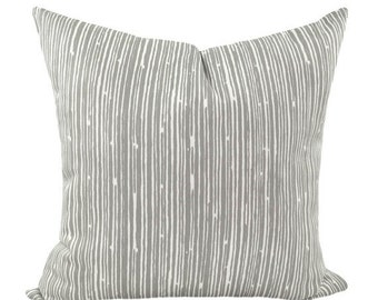 Premier Prints Scribble Stripe Storm Grey and White Decorative Throw Pillow - Free Shipping