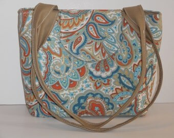 Purse Shoulder Bag Medium-Sized Flap Paisley Print in Teal, Orange, Tan and White Double Straps Many Pockets Ready to Ship