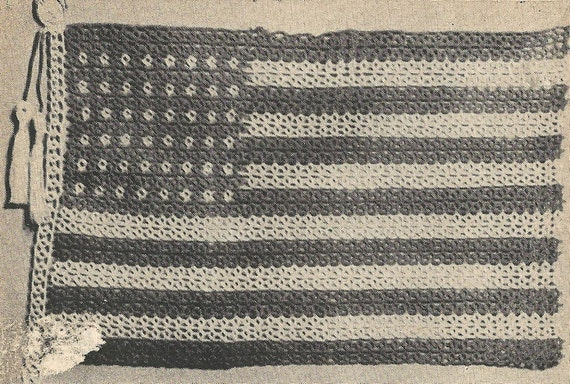 American Flag Tatting Pattern From A 1955 Workbasket A 13x15
