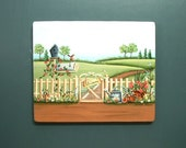 Garden Gate Welcome Hand Painted Wood Plaque 532
