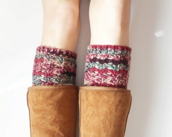 Textured Boot Cuffs in Cranapple, crochet,  ready to ship.
