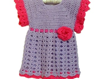 Lilac Baby Dress, Crochet Dress, Lavender and Raspberry Pink