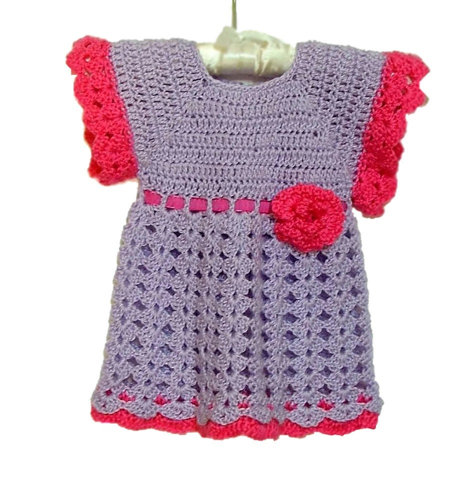 Lilac Baby Dress Crochet Dress Lavender and Raspberry Pink