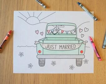 Wedding Coloring Sheet Printable - Just Married Vintage Truck