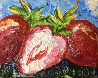 Strawberries 4x5 Inch Original Oil Painting by Paris Wyatt Llanso FREE SHIPPING