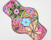 "12"" Heavy Cloth Pad, Reusable Cloth Menstrual Pad Made w/ Mantis Pink Minky, Windpro Fleece, Overnight Pad by MotherMoonPads"