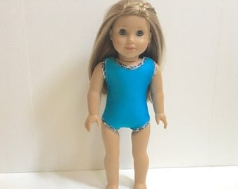 Turquoise and Cheetah Swimsuit for 18 Inch American Girl Doll