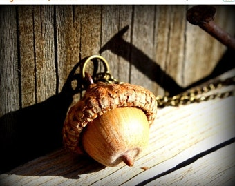 SALE Peter Pan Real Acorn Charm Bronze Necklace