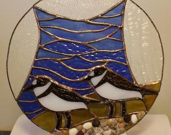 Stained Glass, Beach, Ocean, Shoreline, Water, Beachcomber, Panel, Seashells, Birds