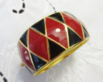 Vintage Balenciaga Bracelet Red Black Enamel Gold Metal Hinged Bangle Paris Designer Retro Jewelry
