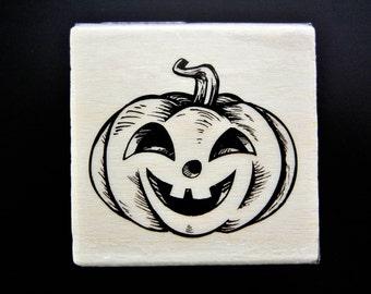 HALLOWEEN PUMPKIN Wood Mount Rubber Stamp