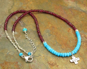 Turquoise Garnet Sterling Silver Necklace - Little Rustic Cross
