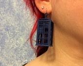 Dark Tardis Blue Police Box Lightweight Statement earrings