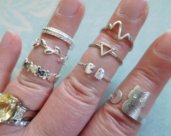 Shop Sale.. Stack Ring, Knuckle Ring, Midi Ring, you choose Stacking Stackable Ring animal heart arrow triangle organic sr19 sr18 sr17 sr16