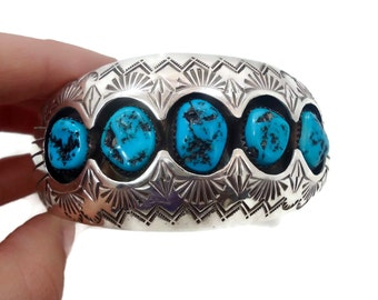 Turquoise Cuff, Sterling Silver, Vintage Bracelet, Navajo, Signed, P. Benally, Shadowbox, Small Wrist, Large, Big, Statement, Boho Bohemian