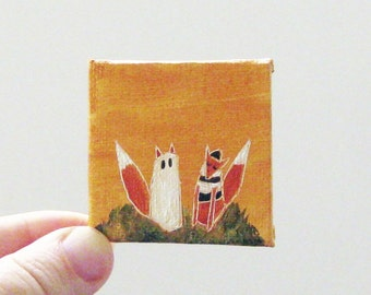 ghost & bandit  / MINIATURE painting on canvas panel