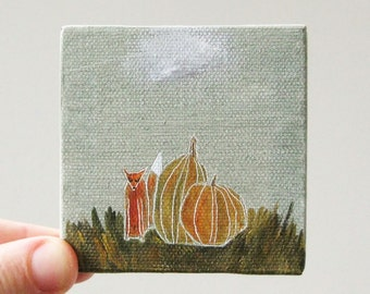 pumpkin fox / original painting on canvas