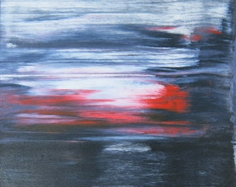 Gulf Dark black white red abstract landscape oil painting by artist Jean Macaluso
