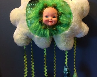 Plush Art Doll Acid Rain Cloud Dolly  Handmade Rubber Face Doll Creepy Cute