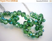 50% OFF CLEARANCE Crystal Chain Necklace in Green by Debbie Renee, Beaded Chain, Crystal Necklace