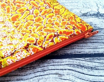 Large Zip up pouch. Cosmetic bag African print. Zippered pouch, make up,  Purse, cosmetic purse. Wax print