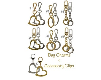 Handbag Accessories - Bag Charms, Accessory Clips, Key Holders/Fobs - Gold & Nickel-Silver Finishes