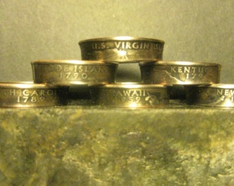 Hand Made Rings From Clad State Quarters To Your Requested Size And State