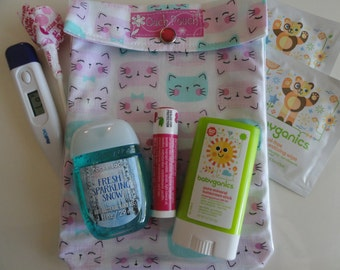 Medium Ouch Pouch Clear Tote First Aid Organizer Diaper Bag Insert Overnights Toddler Girl Day Care (5x7 Cat's Meow Fabric) Gift Under 10