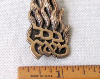 Sterling Silver Pin with Hebrew Letters and Flame Fire Design
