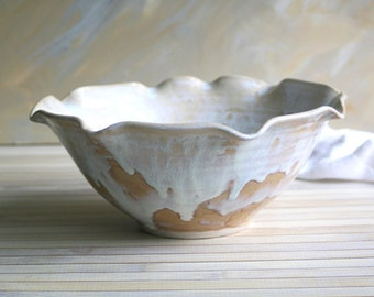 Rustic Serving Bowl with Ruffled Edges in Creamy White and Ocher Glazes Stoneware Pottery Bowl Handcrafted Made in USA Ready to Ship