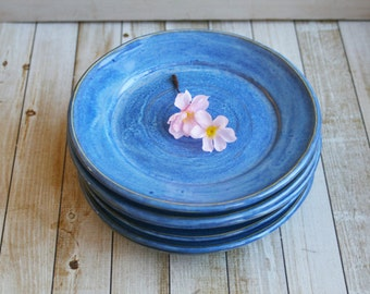 Set of Six Rustic Side Plates with Rich Blue Indigo Glaze Ceramic Stoneware Dinnerware Dishes Made in USA Ready to Ship
