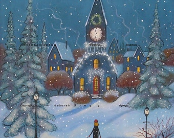A Star In The East  a small  winter Snow Christmas Print by Deborah Gregg