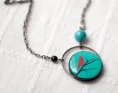 bird on branch turquoise necklace - aqua necklace, tree branch necklace, winter tree necklace, red bird necklace, tree branch jewelry (N041)
