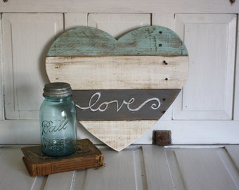 Reclaimed Wood Heart- Striped Heart- Love- Painted Cottage Chic Heart
