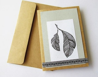 Handcrafted Feather Kraft Greeting Card, Nature Theme, Rustic, Woodland