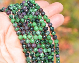 1 Strand of Ruby in Zoisite 6mm Round Beads  BD976