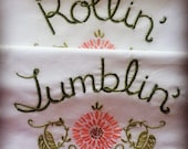 RESERVED, Custom for Joules, Rollin' Tumblin', Pillowcases, Hand embroidered, Vintage decor, Unique gift