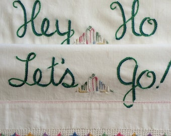 Hey Ho, Pillowcases, Ramones, Hand embroidered, Boho bedroom, Road Trip, Punk decor, Rock gift