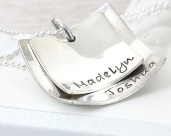 Domed Squares | Personalize Handmade Hand Stamped | Mom Grandma Daughter Niece Jewelry | Layered Name Jewelry | Christina Guenther