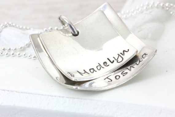 Domed Squares   Personalize Handmade Hand Stamped   Mom Grandma Daughter Niece Jewelry   Layered Name Jewelry   Christina Guenther