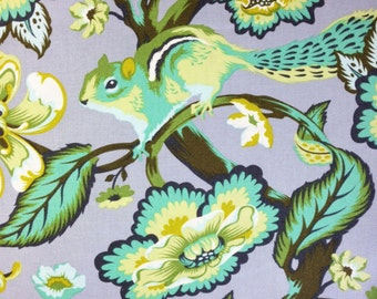 Chipmunk fabric, Tula Pink, Chipper yardage, mint color, gray and green, Free Spirit Fabric, designer fabric, choose cut, supply
