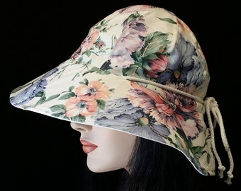 Reversible Cottage Hat Wide Brim Sun Hat in muted cream floral print with adjust fit plus chinstrap for boating/convertibles/windy days