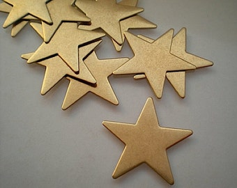 12 flat brass star charms/stamping blanks, 1""
