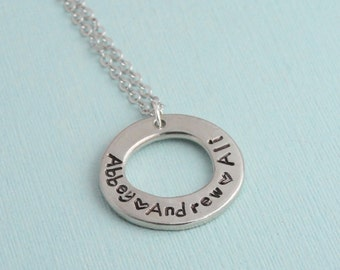Hand stamped washer necklace // pewter necklace // Mothers necklace // custom