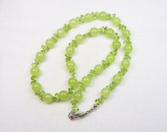 Peridot Necklace - Sterling Silver - Genuine Gemstones - Natural Stones - Beaded Necklace - Gift For Her