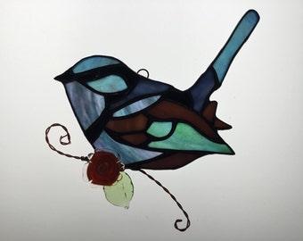 Splendid Fairywren Suncatcher in Stained Glass