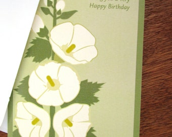 Hollyhock Birthday Card